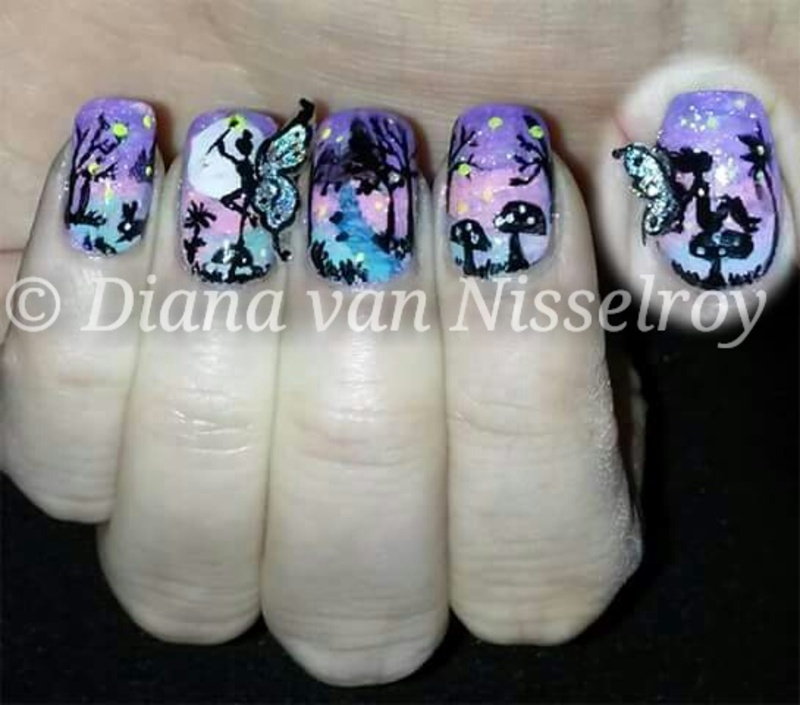 Enchanted 3D Fairy Forest nail art by Diana van Nisselroy ...
