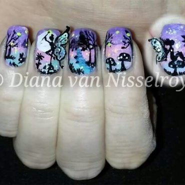 Enchanted 3D Fairy Forest nail art by Diana van Nisselroy
