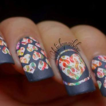 hearts on fire nail art by Nicky