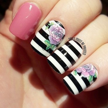 French Roses nail art by Emily