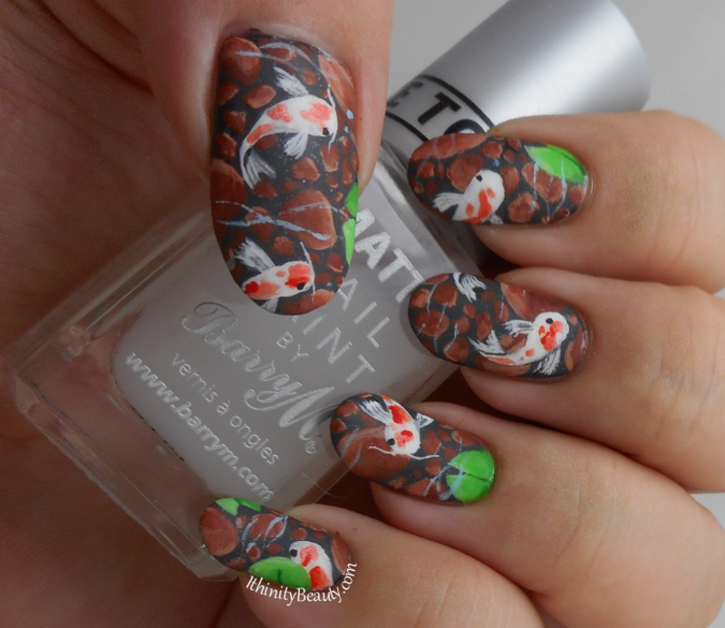 Freehand Clear Waters And Koi Carp nail art by Ithfifi Williams