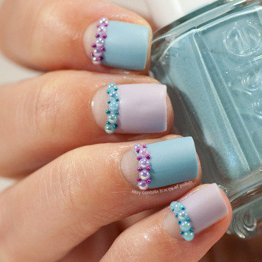 Pearly halfmoon manicure nail art by Zara TracesOfPolish