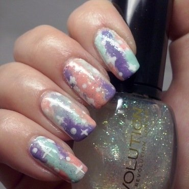 Pastel galaxy nails nail art by Alice in Wonderland CZ