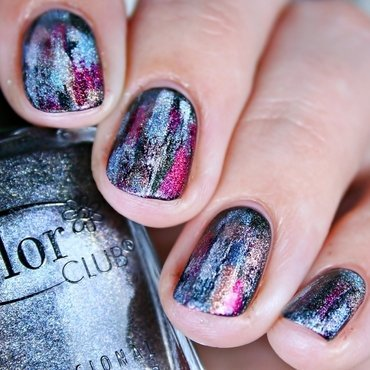 Holographic Distressed  nail art by Romana