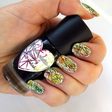 B.a black knight dark stamping nail polish autumn leaves nailart thumb370f