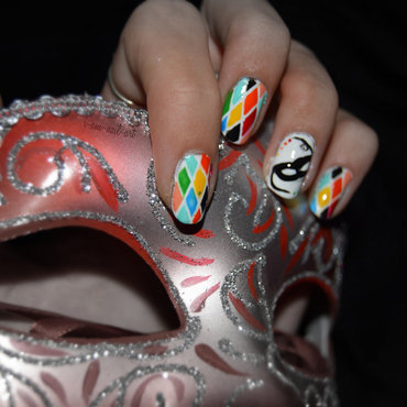 Arlecchino's Carnival nail art by i-am-nail-art
