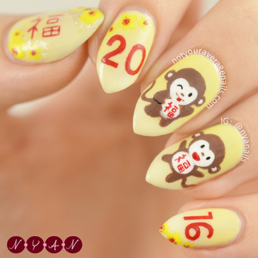 2016, Year of the Monkey nail art by Becca (nyanails)