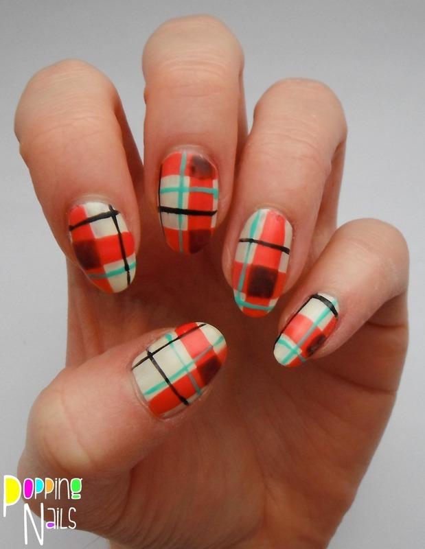 Tartan nail art by Charlie - Popping Nails