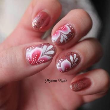 One stroke fleurs rouge et blanche nail art by MoanaNails