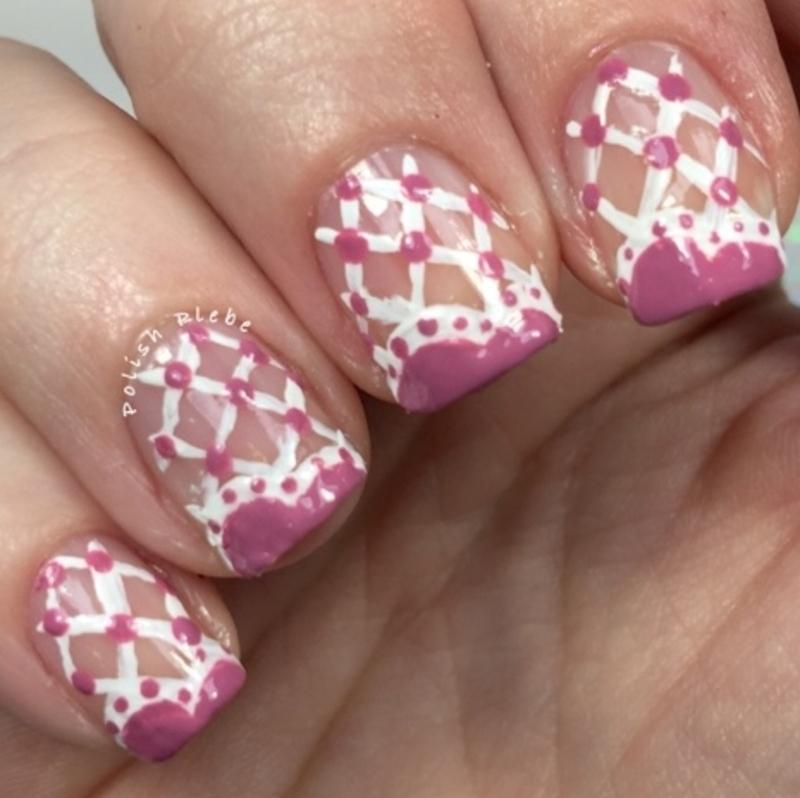 Lattice Lace Heart Tips nail art by Crystal Bond