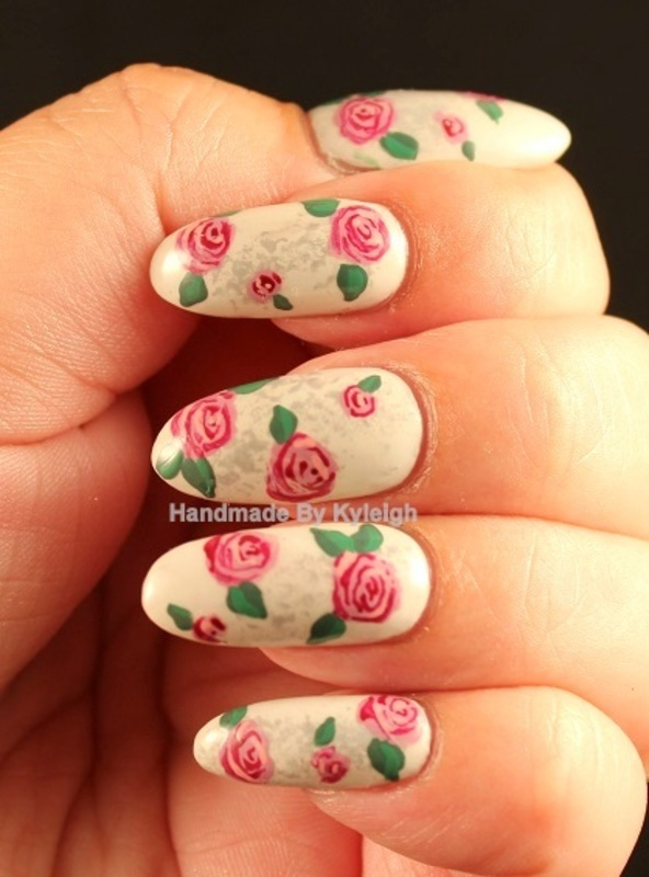 Roses nail art by  Kyleigh  'Handmade By Kyleigh'