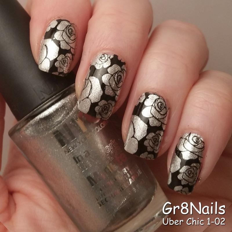 Silver Roses nail art by Gr8Nails