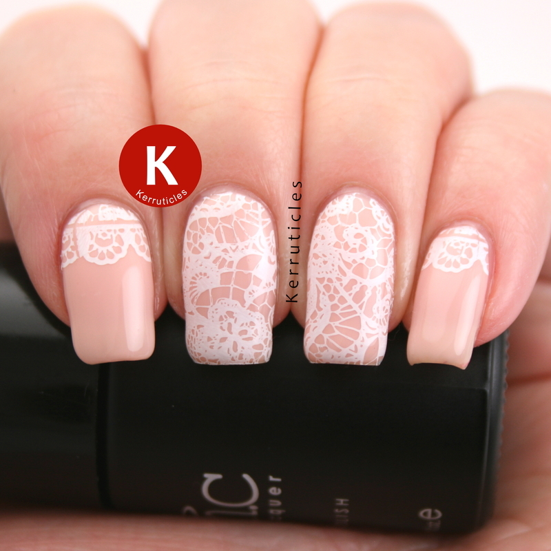 Pale peach with lace stamping nail art by Claire Kerr