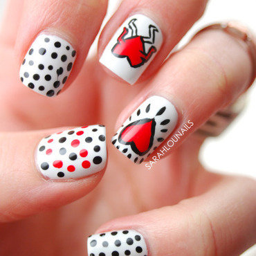 Keith Haring Valentine's Day Nails nail art by Sarah S
