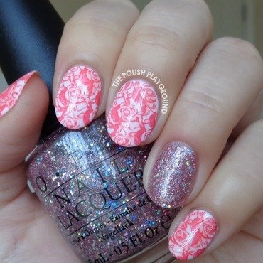 Romantic Roses Stamping with Pink Glitter Accent nail art by Lisa N