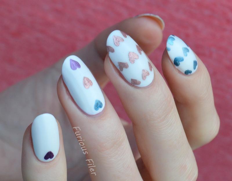 Metallic Hearts  nail art by Furious Filer