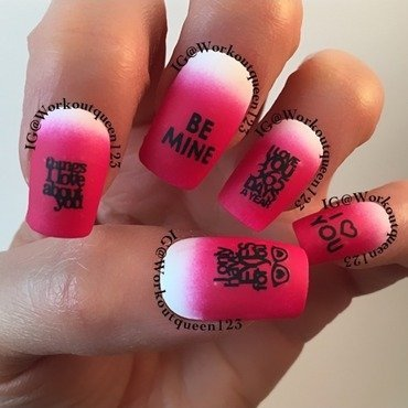 pink and white mani nail art by Workoutqueen123