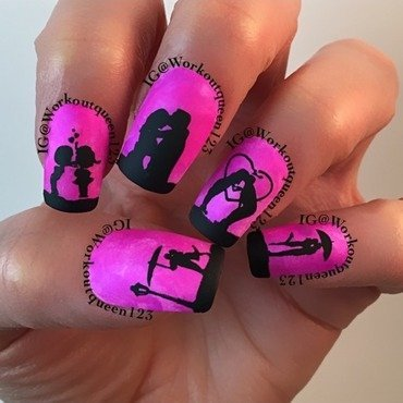 Couples Kissing French Mani nail art by Workoutqueen123