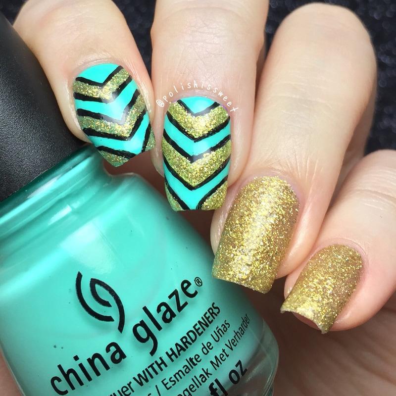 Single Chevrons nail art by PolishIsSweet
