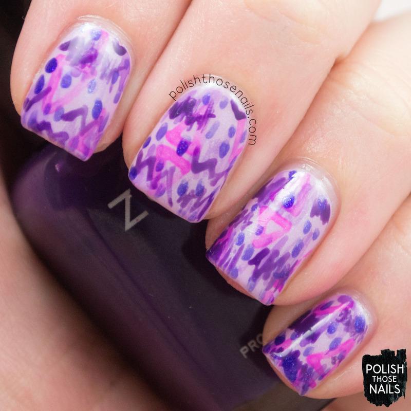 Purple Squiggles nail art by Marisa  Cavanaugh