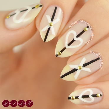 Xs and ♥s nail art by Becca (nyanails)