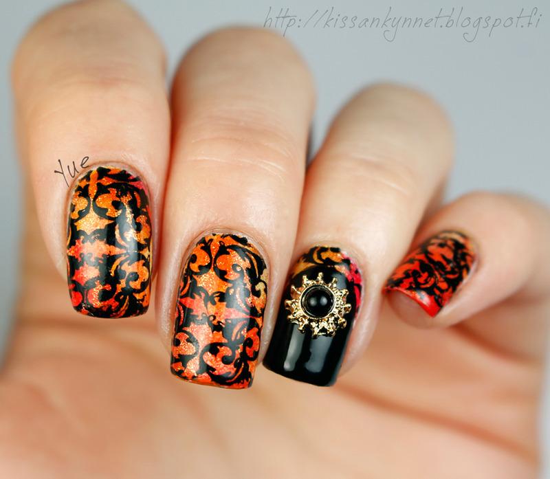 Sunny Orange nail art by Yue