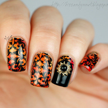 Orange black 3d nail art np thumb370f