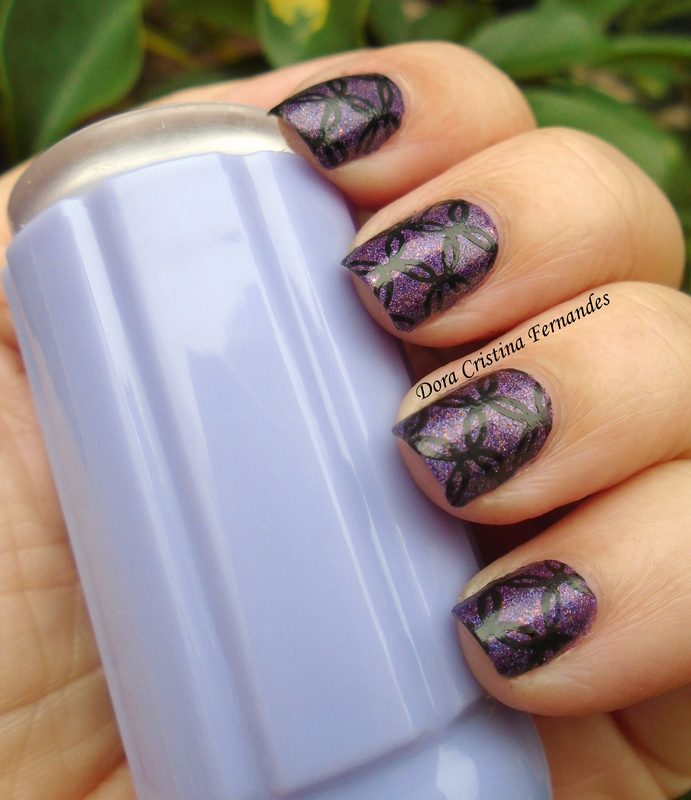 Stamp over Lilypad Lacquer nail art by Dora Cristina Fernandes