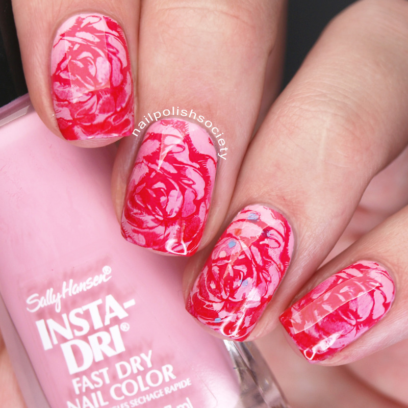 Marble Roses nail art by Emiline Harris