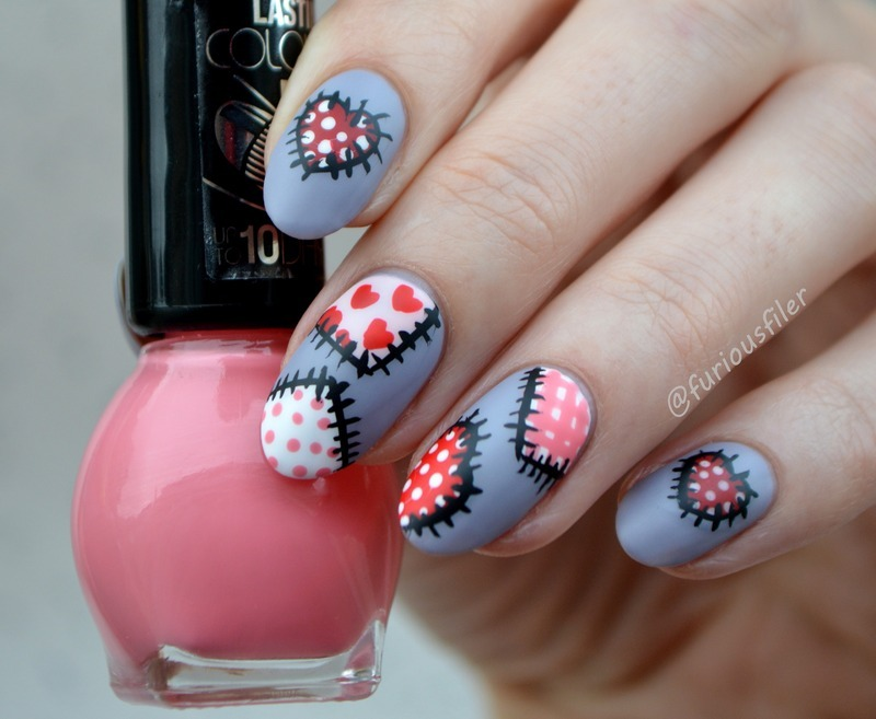 Valentine's Day Patchwork  nail art by Furious Filer