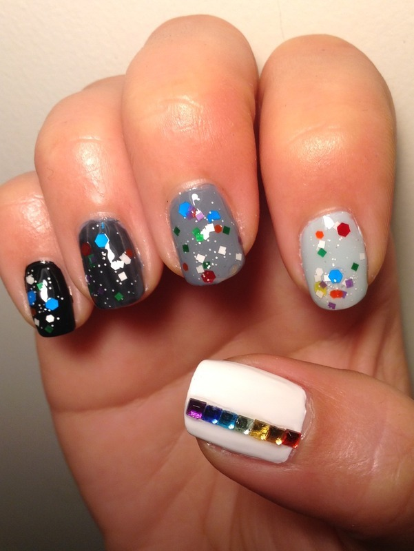 Black And White Rainbow nail art by Idreaminpolish