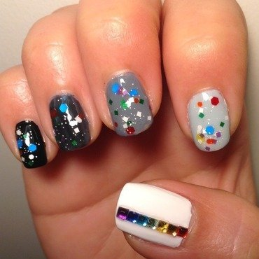 Black And White Rainbow nail art by Idreaminpolish
