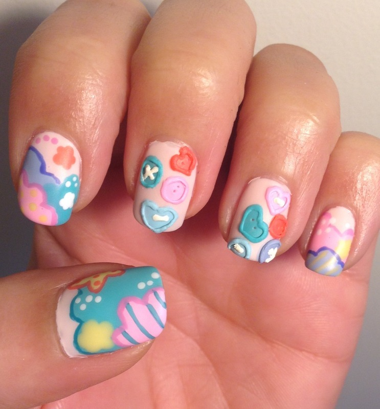 Buttons And Patches nail art by Idreaminpolish