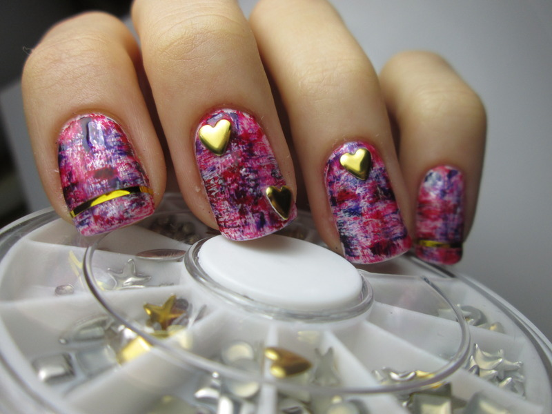 Valentines day nails with gold hearts nail art by NailArt_T