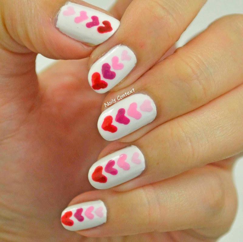 Hearts and more hearts  nail art by NailsContext