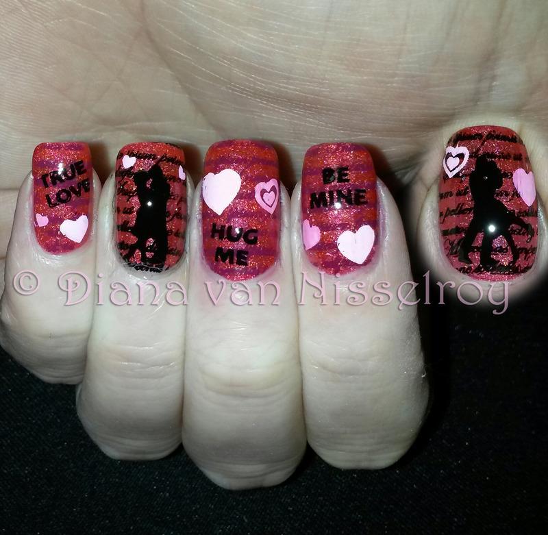 Love is in the air nail art by Diana van Nisselroy