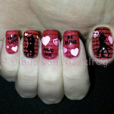 Love is in the air nail art by Diana van Nisselroy