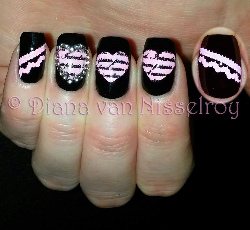 Heart shaped love letters nail art by Diana van Nisselroy