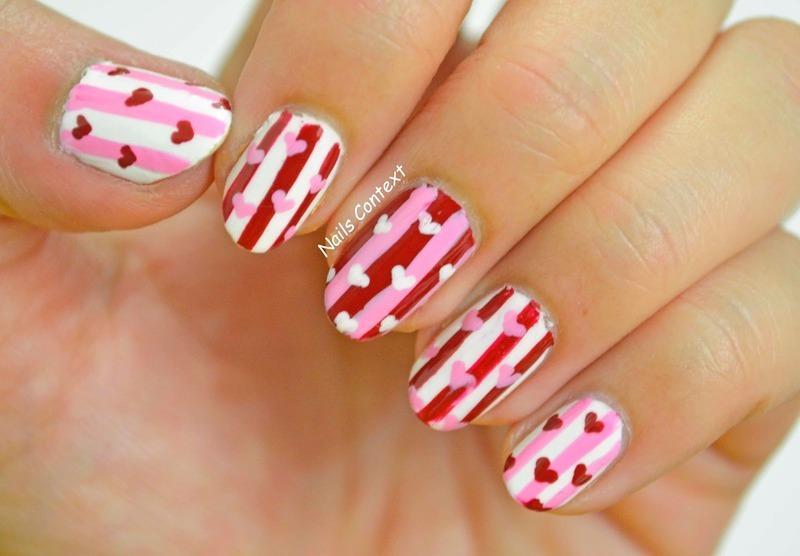 Valentines Stripes n Hearts nail art by NailsContext