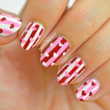 Valentines Stripes n Hearts nail art by NailsContext