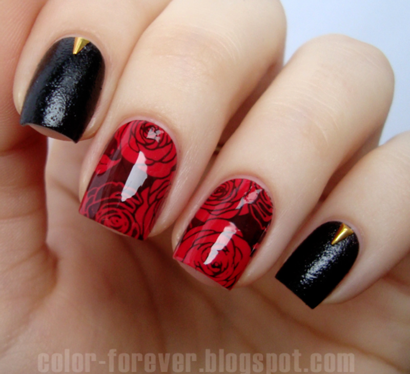 black leather & red roses (Valentine's Nails) nail art by ania