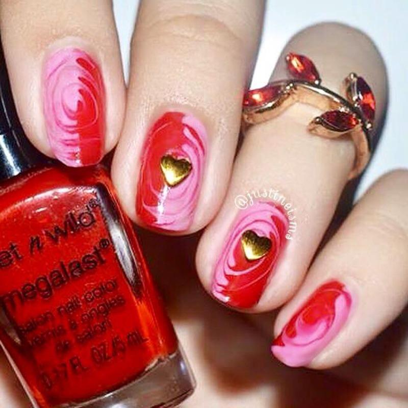 Valentine Dry Marble Swirls nail art by ℐustine