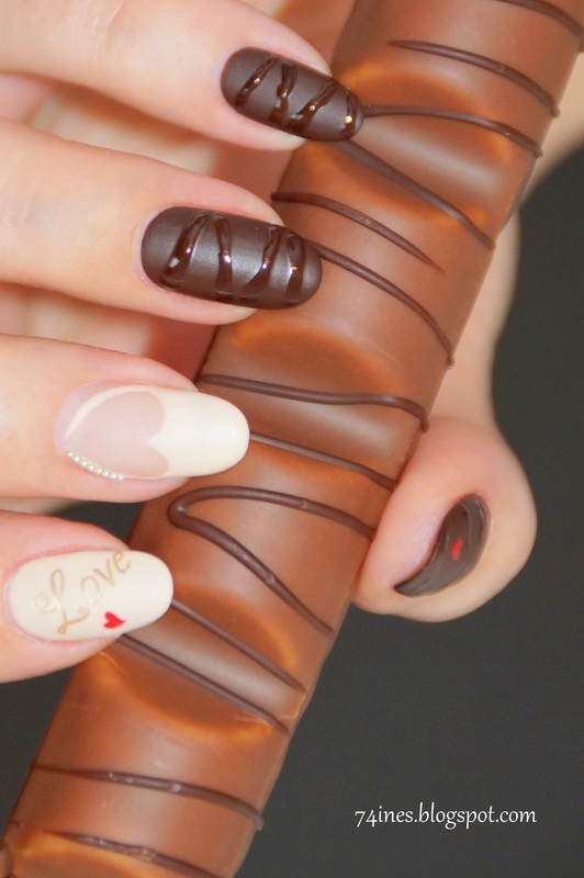 Love have a taste of chocolate  nail art by 74ines