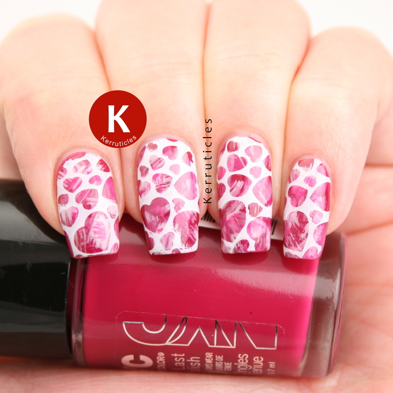 Dry brush pink hearts for Valentine's nail art by Claire Kerr