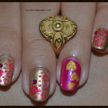 Pink and Gold Heart Design nail art by Demi