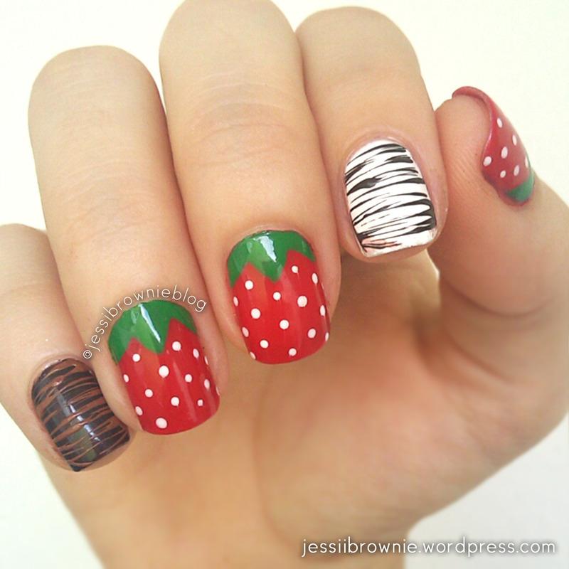 Dipped Strawberries nail art by Jessi Brownie (Jessi)
