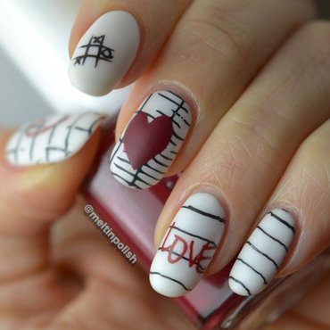 Love letters nail art by Meltin'polish