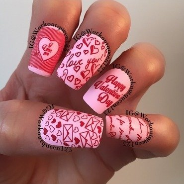 Lover letters nail art by Workoutqueen123