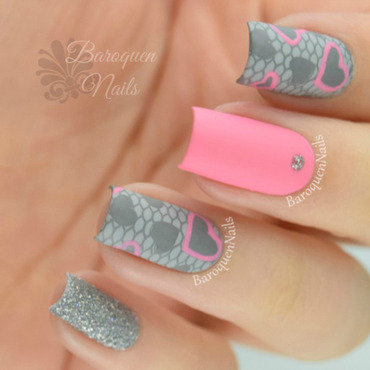 Touch of Pink nail art by BaroquenNails