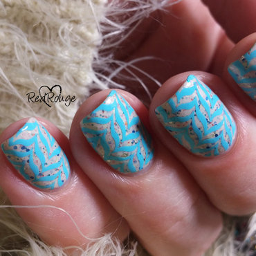 Stamping water marble nail art by RedRouge